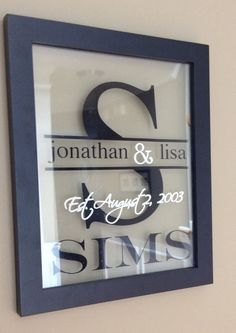 Items similar to Custom, Personalized Family Sign with Split Letter Initial and Established Date on Etsy Old Window Projects, Vinyl Projects, Craft Projects, Craft Ideas, Frame Crafts, Diy Crafts, Wood Crafts, Glass Block Crafts, Established Family Signs