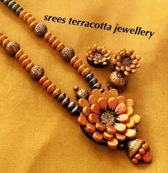 Terracotta flower jewelry set