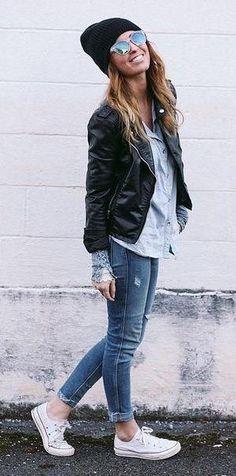 #winter #fashion /  Black Beanie / Black Leather Jacket / White Sneakers / Skinny Denim