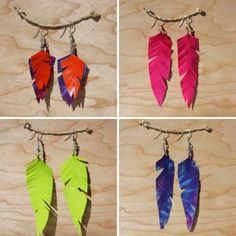 Cool Crafts You Can Make for Less than 5 Dollars | Cheap DIY Projects Ideas for Teens, Tweens, Kids and Adults | Flourescent Feather Duct Tape Earrings | http://diyprojectsforteens.com/cheap-diy-ideas-for-teens/