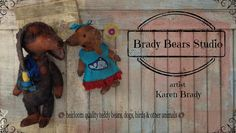 Dachshund, Doxie, Weiner dog, dog banner. Dogs created from German viscose. Brady Bears Studio BradyBears.com