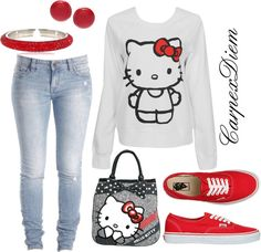 """""""Hello Kitty 3"""" by carpexdiem ❤ liked on Polyvore"""