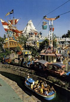 """The Pirate Ship still """"sailed"""" and the Skyway still soared in this vintage Fantasyland photo. Awwww - I really miss the vintage DL."""
