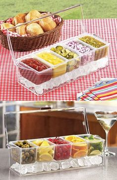 BBQ Party - Chilled Condiment Caddy - contemporary - serveware - Harriet Carter-great idea for outdoor BBQs Cool Kitchen Gadgets, Home Gadgets, Cooking Gadgets, Kitchen Items, Kitchen Hacks, Cool Kitchens, Kitchen Tools, Kitchen Appliances, Kitchen Gadgets
