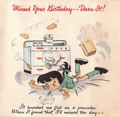 Vintage 1943 Hallmark Missed Your Birthday Greetings Card Belated Birthday Greetings, Happy Birthday Quotes, Happy Birthday Images, Birthday Pictures, Happy Birthday Wishes, It's Your Birthday, Happy Birthdays, Vintage Birthday Cards, Bday Cards