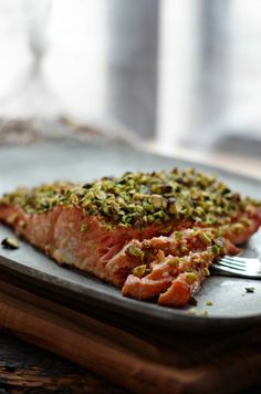 This pistachio crusted salmon is my mother in law's specialty and is a huge hit every single time. Quick to mix up the ingredients and throw into the oven.