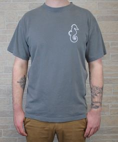 Adult Smoke Grey T-Shirt with Outline Print