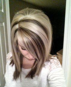 Platinum blonde with light brown lowlights