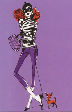 Fashion Illustration on a greeting card by Izak Zenou. Love her red hair and striped sweater. Read more about the cards on my blog.