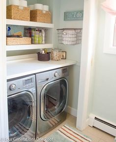 Our budget laundry room reveal laundry closet + DIY floating shelves + folding table = organized laundry space!