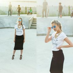 Get this look: http://lb.nu/look/8356987  More looks by Madalina Gugila: http://lb.nu/styleisfresh  Items in this look:  H&M Skirt, Zara Sandals, Urban Gang Tshirt, New Yorker  Sunglasses   #minimal #street