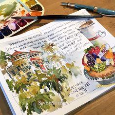 Sketchbook Drawing Brenda Swenson, Watercolor Sketchbook Art - Pasadena Playday, Castle Green and Bakery 85 degrees Travel Sketchbook, Arte Sketchbook, Sketchbook Pages, Art Journal Pages, Art Journals, Fashion Sketchbook, Travel Journals, Watercolor Sketchbook, Watercolor Illustration