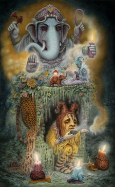 'Ganesha's Inner Garden' by Matt Dangler. Find out more about Matt and see more of his wonderful art in his interview at wowxwow.com. (painting, fantasy, narrative, surreal, surrealism, creatures, mystery, symbolism)