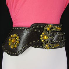 Brown Faux Leather Extra Wide Multi Rhinestones Belt Crown Buckle New Women Cowgirl Fashion Accessories S M L XL