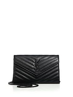 Saint Laurent Saint Laurent Monogram Medium Textured Matelasse Leather Chain Wallet
