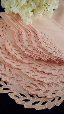 12 PC Lovely Vintage Madeira Fine Pink Cutwork Lace Linen Placemats Napkins | Vintageblessings