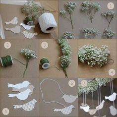 Decoração simples, fácil e delicada para festa em casa. Via oncewed Caminho de corações feito com papel e palito de madeira....