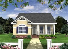 Country Style House Plans - 1100 Square Foot Home , 1 Story, 2 Bedroom and 2 Bath,  Garage Stalls by Monster House Plans - Plan 2-118