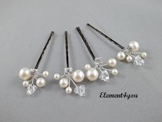 Ivory Pearl Clip Bridal Hair Pins Wedding Hair by Element4you