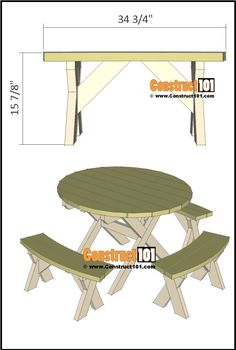 Round picnic table, plans include a free PDF download, shopping list, cutting list, and step-by-step illustrated instructions. Round Picnic Table, Diy Picnic Table, Picnic Table Plans, Build Your Own, How To Plan, Pdf, Furniture, Home Decor, Free