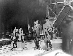 Lord Pirrie (left), Chairman of Harland & Wolff and Bruce Ismay (right), Chairman and Managing Director of the White Star Line, were photographed making a final inspection of Titanic on the slipway on May 31, 1911.