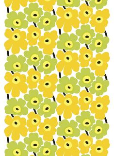 Marimekko Pieni Unikko Lime / Yellow Cotton Fabric Designed in 1964 by Maija Isola, Marimekko Unikko has remained a powerful flower through six decades. In the Pieni (little) version, the blooms are in a smaller scale, and laid in two alternating colum. Striped Wallpaper, Retro Wallpaper, Iphone Wallpaper, Marimekko Wallpaper, Marimekko Fabric, Retro Tapet, Fabric Design, Pattern Design, Yellow Fabric