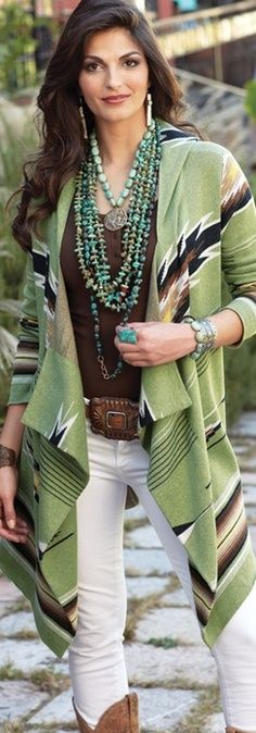 Green summer coat and matching jewelry for ladies