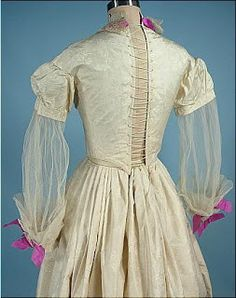 c. 1840s Ivory Figured Silk Two-Piece Gown with Provenance from the Farnsworth Estate of Massachusetts