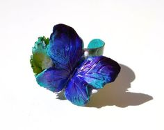 Intense Blue Butterfly RING - Adjustable Statement One Of A Kind Fine Art Ring, Fancy, Refined, Intense Blue Ring