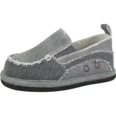 Baby Deer Walking Gray Canvas Slip On Shoes. Dual tone gray canvas walking shoes for little boys. See More Shoes at http://www.ourgreatshop.com/Shoes-C201.aspx