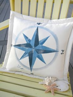"""Compass rose indoor outdoor pillow 20"""" blue navigation boating sailing true north map chart cardinal directions. 38.00, via Etsy."""