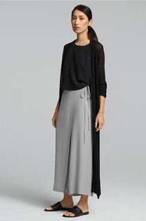 EILEEN FISHER Spring Icons Collection: Silk Shell, Wrap Pant, Maxi Cardigan