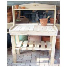 It's time to forgo the stress on the back and on your knees when potting new plants or working in the garden. Our sustainably sourced Northern White Cedar Potting Bench is the solution to your aches and pains. This potting table comes with everything you Bar Outdoor, Outdoor Living, Outdoor Benches, Outdoor Pallet, Diy Garden Furniture, Furniture Decor, Pallet Furniture, Bench Decor, Diy Garden Table