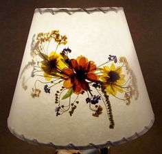 Botanical Lampshade - #3700 - cosmos, goldenrod, basket of gold and forget-me-nots