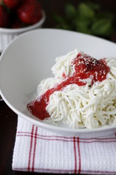Spaghetti Gelato works best when using a metal rice press and leaving it in the freezer before use!