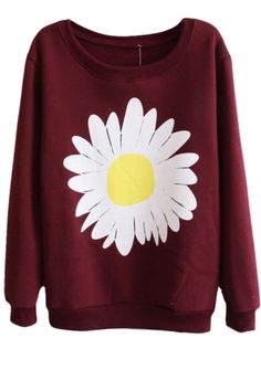Sunflower Pattern Round Neck Long Sleeve Sweatshirt