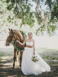 Horses always make weddings better: http://www.stylemepretty.com/2014/05/02/leather-and-lace-inspired-shoot/ | Photography: Brandon Lata - http://www.brandonlata.com/