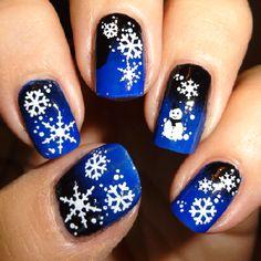 Snow nails, snowman nails, fab for winter nail art!  Snowfall Nail Water Decals | Nail Art Supplies | Sparkly Nails