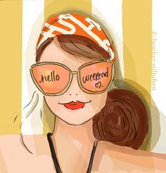 Hello Weeked Somewhere on a Beach Towel by RoseHillDesignStudio