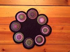 PRIMITIVE WOOL FELT PENNY RUG CANDLE MAT BEAUTIFUL SPRING COLORS FOR EASTER