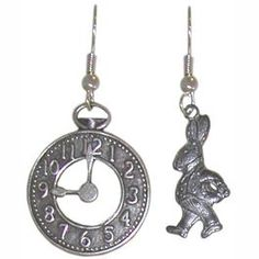 "Alice In Wonderland earrings ""I'm late! I'm late!..."""