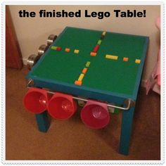 Lego Table Ideas.  I LOVE this from my mate Jo at Mum Friendly- a five pound ikea table converted to a brilliant Lego station- sooo going to do this for Syd when he is a bit bigger!!