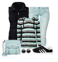 """Casual wear"" by gallant81 ❤ liked on Polyvore featuring Benetton, Lands' End, Jessica Simpson and adidas"