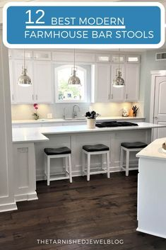 12 Best Modern Farmhouse Bar Stools – Page 2 – Lashell Farmhouse Style Bar Stools, Modern Farmhouse Kitchens, Cool Kitchens, Galley Kitchens, Farmhouse Decor, Open Concept Kitchen, Kitchen Layout, Herman Miller, Kitchen Stools With Back
