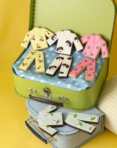 Adorable pyjama cookies. Fun for a sleep-over party.