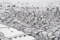 Panoramic pen drawing of London (work in progress) on Behance