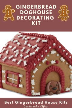 Don't forget Fido! Dog and animal lovers of all kinds are going to enjoy this adorable addition to their gingerbread house decorating tradition. Includes: 6 pre-baked gingerbread house panels, bone sprinkles, dog decoration, white and red ready-to-use icing, disposable decorating bag & cardboard base. From traditional gingerbread houses to campers, trains and lighthouses, we've found some truly unique gingerbread decorating kits. #gingerbreadhouse #gingerbread #gingerbreadhousekit #doghouse Best Gingerbread House Kit, Gingerbread House Pictures, Gingerbread Cookie Mix, Cardboard Gingerbread House, Cool Gingerbread Houses, Gingerbread House Designs, Gingerbread Recipes, Cookie House, Christmas Goodies