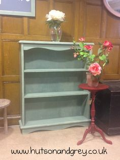 Hutson and Grey - Shelves hand-painted in Duck Egg Blue Chalk Paint™ and clear waxed. Pedestal table hand-painted in Emperors Silk Chalk Paint™ and Dark waxed to age.