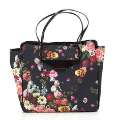 Ted Baker Black Oil Painting Floral Canvas 'Philli' Shopper ($98) ❤ liked on Polyvore featuring bags, handbags, tote bags, purses, accessories, black multi, floral tote, canvas handbags, shopping bag and floral tote bag
