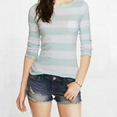 * SPEING SALE* Express Zipper Tee Small fitted tee with three-quarter sleeves and zipper detail above right shoulder. Mint green and white. Express Tops